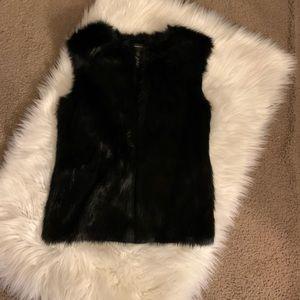 INC Black fur vest